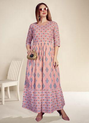 Light Pink Cotton Digital Print Kurti