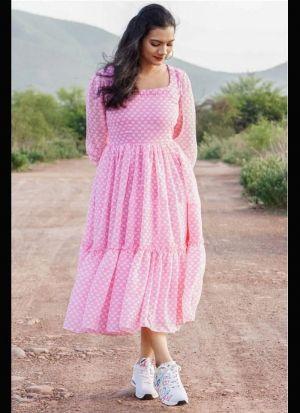 Light Pink Georgette Printed Dress