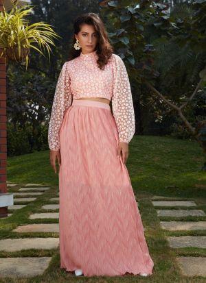 Light Pink Girlish Wear Skirt With Crop Top