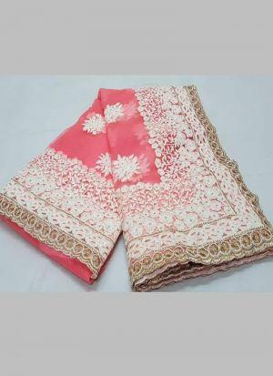 Light Pink Naylon Net Festive Wear Saree