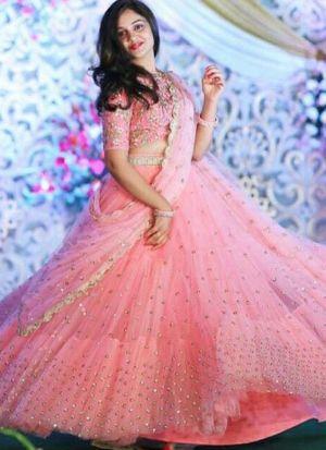 Light Pink Net Lehenga Choli With Sequence Work