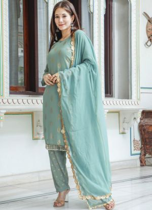 Light Turquoise Georgette Salwar Suit