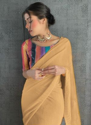Light Yellow 60 Gm Georgette Sequence Saree