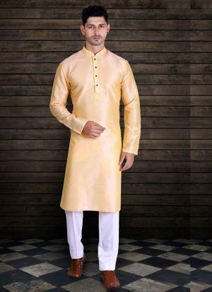 Light Yellow Silk Kurta With Cotton Pajama