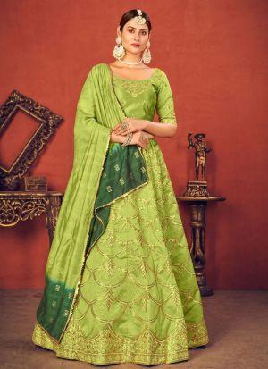 Lime Green Art Silk Lehenga Choli