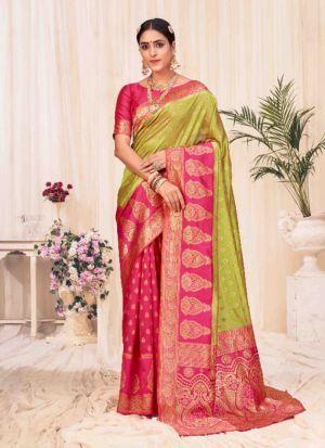 Lime Green Banarasi Silk Saree