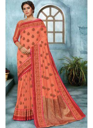Linen Silk Dark Orange Party Wear Saree Collection