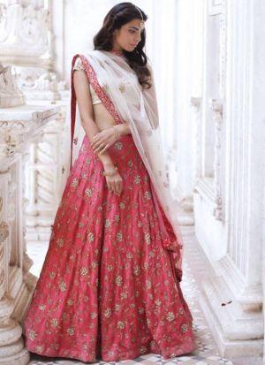 Lotus Pink Thread Work Designer Partywear Lehenga Choli