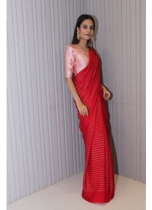 Lovely Digital Printed Red Satin Saree