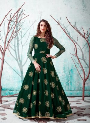 Lovely Net Metalic Foil Bottle Green Gown