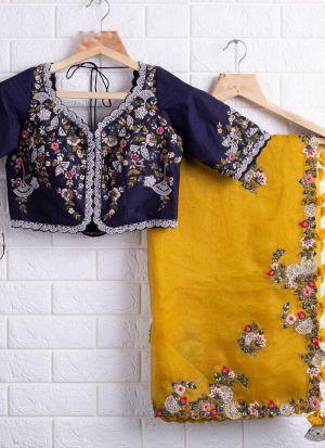 Lovely Yellow Organza Silk Thread Work Saree