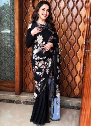 Madhuri Dixit Black Flower Printed Saree