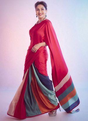 Madhuri Dixit Multi Color Digital Printed Saree