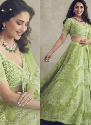 Madhuri Dixit Pista Green Embroidered Lehenga Choli With Dupatta