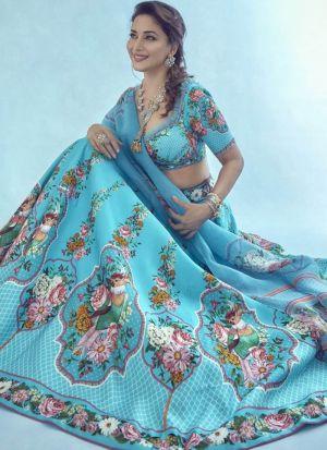 Madhuri Dixit Sky Blue Digital Printed Lehenga Choli