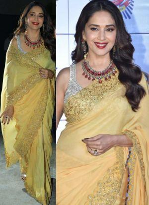 Madhuri Dixit Yellow Multi Work Festive Wear Saree