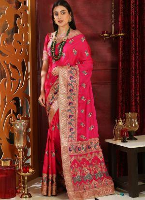 Magenta Embroidered Silk Designer Sarees For Festival