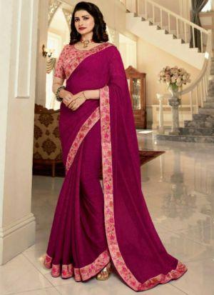 Magenta Pink Printed Vichitra Silk Designer Saree