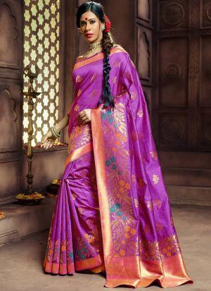 Magenta Pink Pure Banarasi Silk Traditional Saree Collection