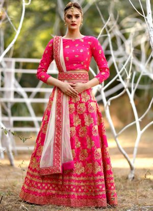 Magenta Pink Silk Embroidered Bridal Lehenga Choli With Bridal Net Dupatta