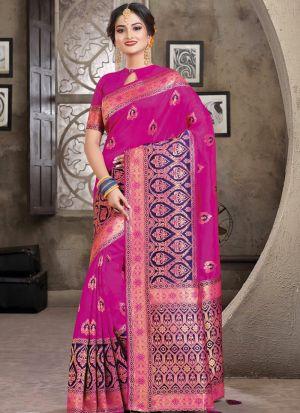 Magenta Pink South Indian Wedding Crystal Silk Saree