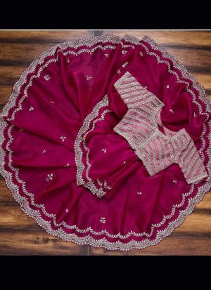 Magenta Rajwadi Silk Thread Work Saree