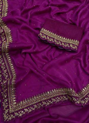 Magenta Rangoli Silk Party Wear Saree