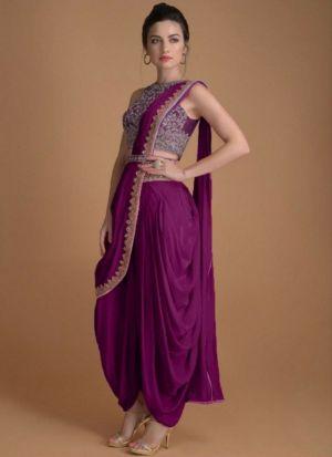 Magenta Taffeta Silk Party wear Suit