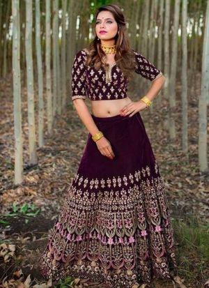 Magenta Velvet Lehenga Choli For Wedding