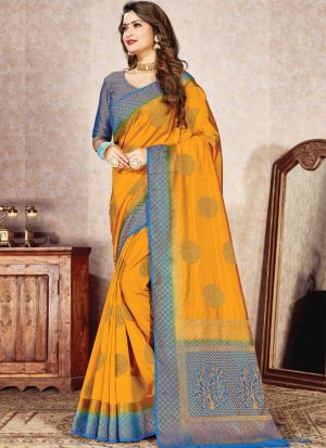 Magnetic Yellow Naylon Silk Function Wear Saree