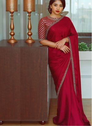 Malai Silk Red Saree With Beautiful Blouse