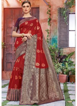 Maroon Banarasi Crystal Silk Festive Wear Traditional Saree