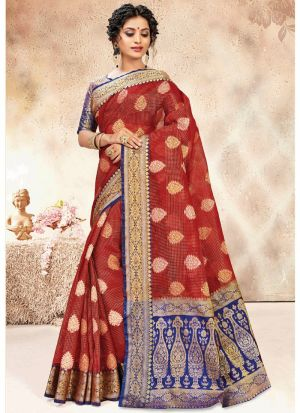 Maroon Banarasi Kora Silk Designer Sarees For Wedding