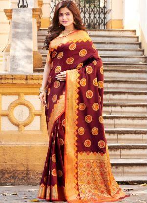 Maroon Banarasi Silk Fabric Traditional Wear Fancy Saree