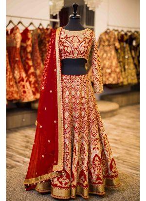 Maroon Banglori Silk Bridal Lehenga Choli With Moss Chinon Dupatta