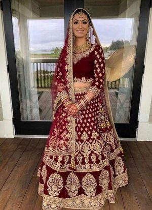 Maroon Bridal Wear Velvet Lehenga