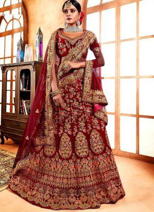 Maroon Color Designer Exclusive Bridal Lehenga Choli In Velvet Fabric