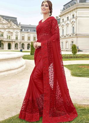 Maroon Color Designer Saree In Blooming Georgette And Naylon Mono Net Fabric