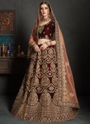 Maroon Colour Pure Velvet Gulkhand Vol 1 Bridal Lehenga Choli