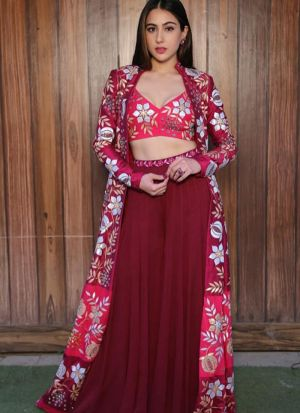 Maroon Digital Printed Bollywood Palazzo Suit With Stylish Koti