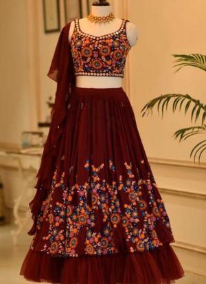 Maroon Georgette Thread Embroidered Wedding Wear Lehenga Choli