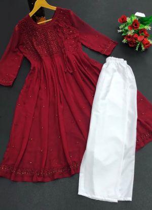 Maroon Georgette Thread Work Suit