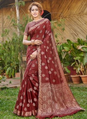 Maroon Handloom Silk Saree Special Wedding Edition