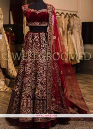 Maroon Heavy Embroidery Malai Satin Fabric Wedding Anarkali Lehenga With Bridal Net Dupatta