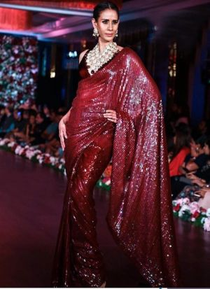 Maroon New Launching Bamberg Georgette Bollywood Celebrity Saree
