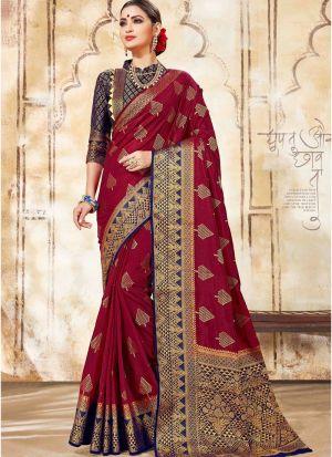 Maroon Nylon Silk Wedding Saree Collection