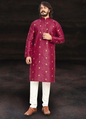 Maroon Pure Art Silk Kurta Pajama