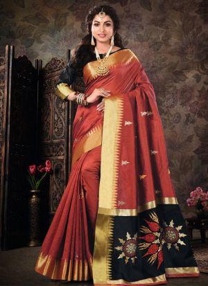 Maroon Pure Crystal Silk Designer Sarees For Wedding