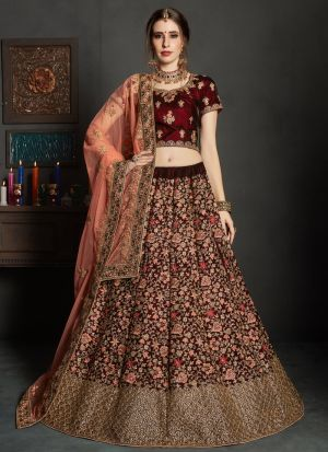 Maroon Pure Velvet Gulkhand Vol 1 Bridal Traditional Lehenga Choli