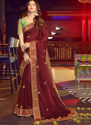 Maroon Rangoli Silk Traditional Wear Saree